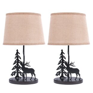 Metal Burlap Shade Elk 19 Table Lamp (Set of 2)