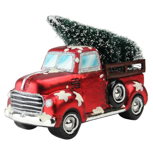 Old Truck With Christmas Tree.Vintage Truck Christmas Tabletop Decoration Sculpture
