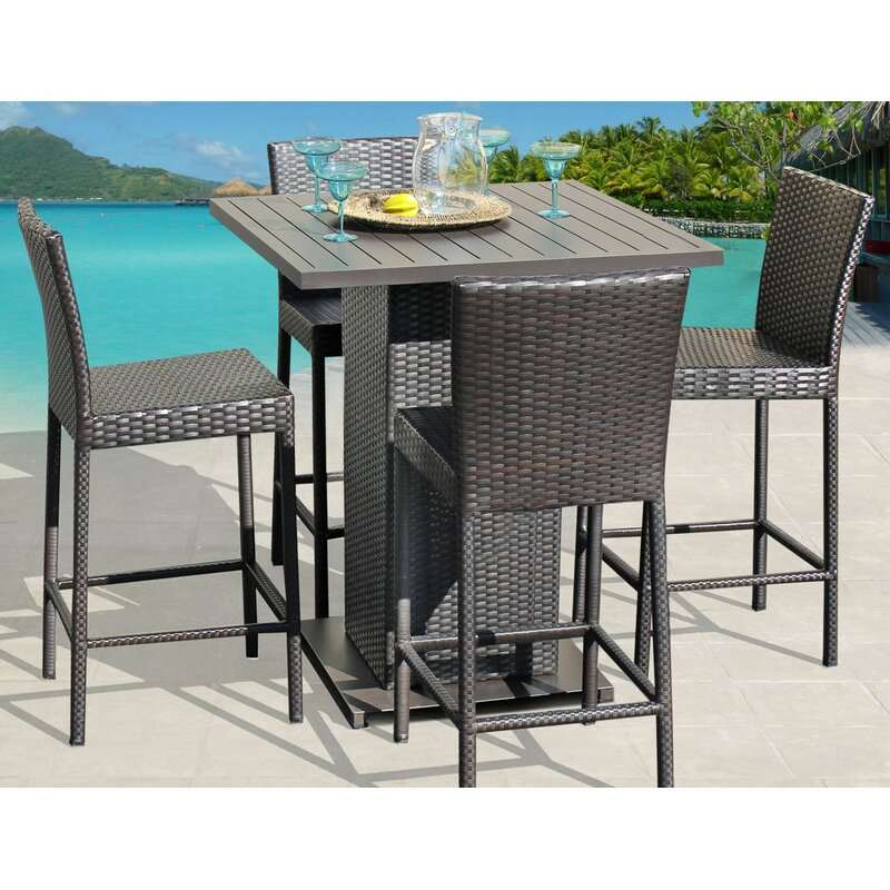White Cane Outdoor Furniture, Sol 72 Outdoor Tegan 5 Piece Bar Height Dining Set Reviews Wayfair