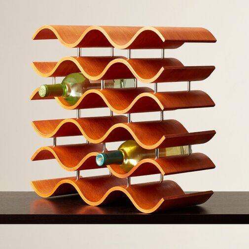 Unique Wine Racks | Helfrich 15 Bottle Bent Rubberwood Tabletop Wine Rack