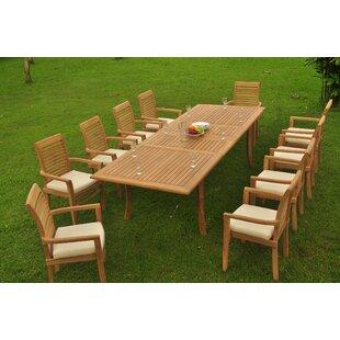 Salvatore Luxurious 11 Piece Teak Dining Set By Rosecliff Heights