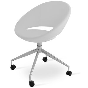 Crescent Spider Swivel Side Chair in PPM Leatherette - White by sohoConcept