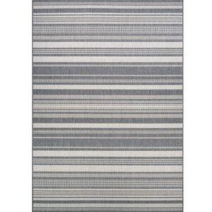 Anguila Stripe Gray Indoor/Outdoor Area Rug