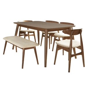 Buffum 6 Piece Counter Height Solid Wood Dining Set by George Oliver Comparison