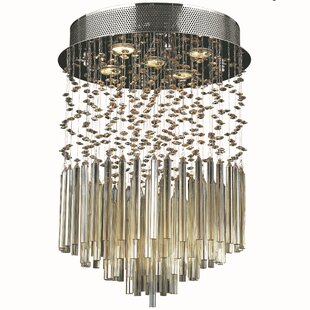 Orren Ellis KeAndre 5-Light Glass Semi-Flush Mount