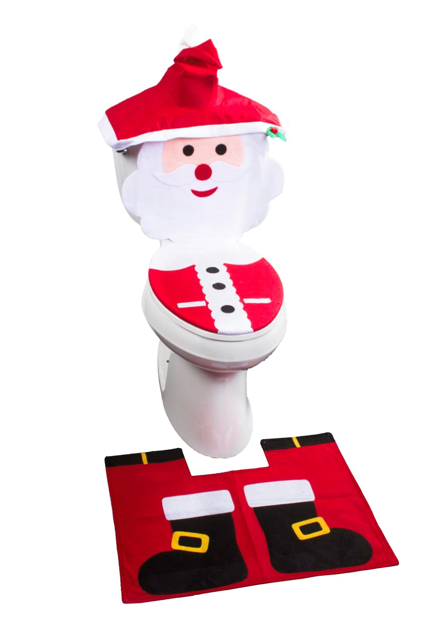 The Holiday Aisle 4 Piece Christmas Santa Face Bathroom Toilet Seat Cover And Rug Set Reviews