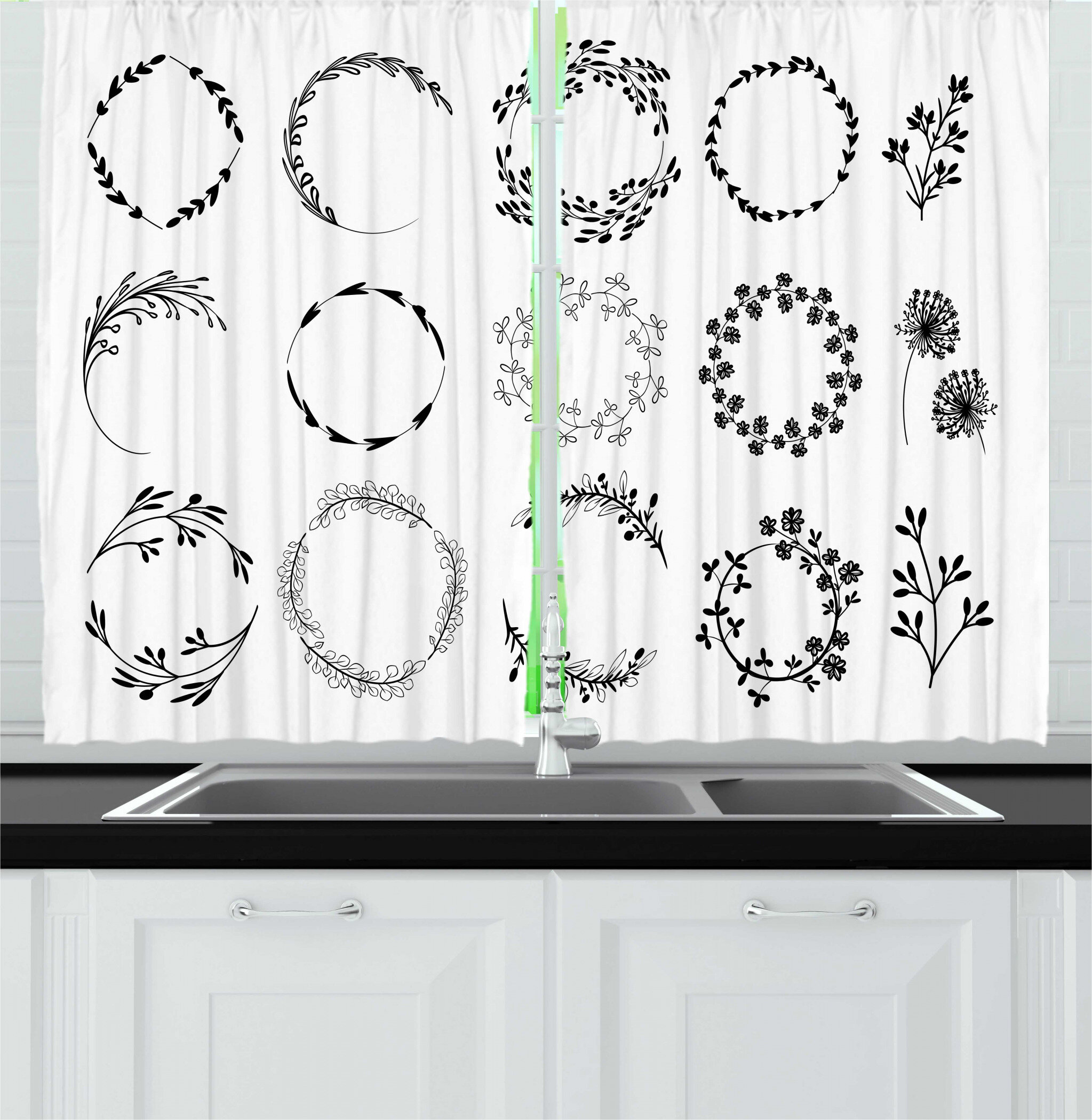 East Urban Home 2 Piece Nature Rustic Bohemian Themed Floral Branch Wreaths Classic Botanical Style Kitchen Curtain Set Wayfair