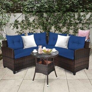 4pcs Patio Furniture Set Outdoor Rattan Sectional Sofa Set W/ Turquoise Cushions