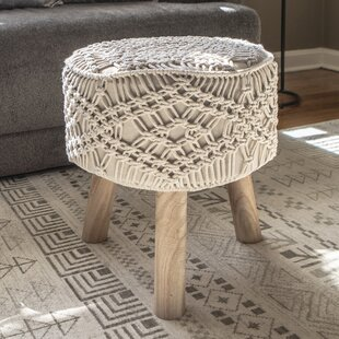 Sabb Crocheted Accent Stool by Bungalow Rose