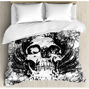 East Urban Home Gothic Scary Skull in Grunge Sketch Dead Themed Dark Horror Evil Illustration Image Duvet Set