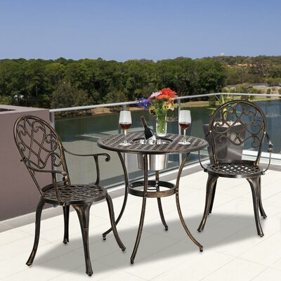 Kristi Cast Aluminum 3 Piece Bistro Set by Fleur De Lis Living Herry Up