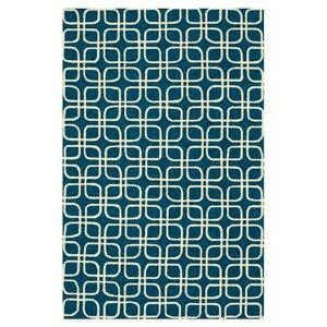 Venice Beach Hand-Hooked Blue/Ivory Indoor/Outdoor Area Rug