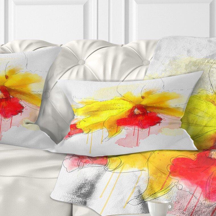 East Urban Home Floral Iris Flower With Splashes Lumbar Pillow Wayfair
