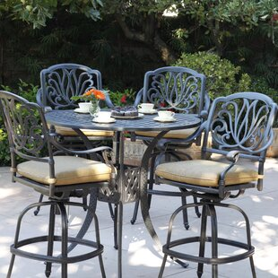 Three Posts Lebanon 5 Piece Bar Height Dining Set with Cushions