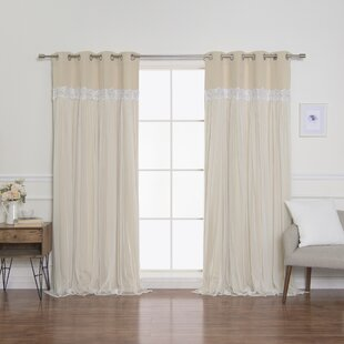 Pauley Best Home Fashion Pleated Tulle Lace Solid Blackout Curtain Panels