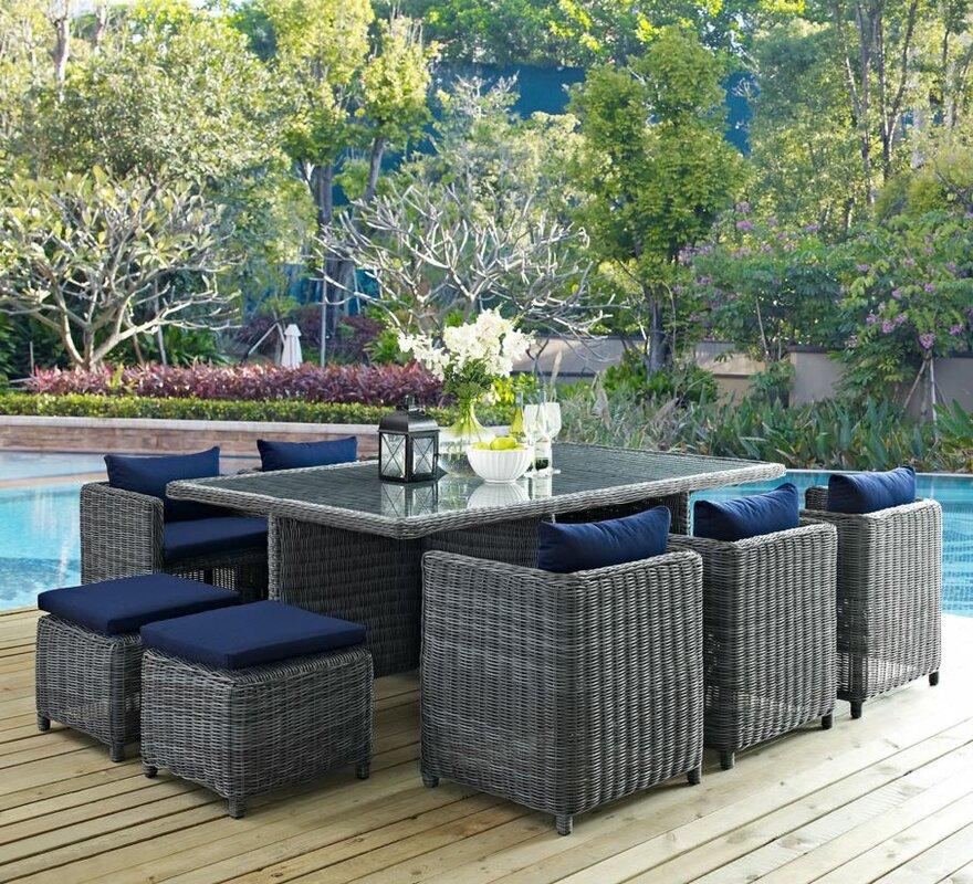 white floral blossom all weather p styles home patio set sets dining with cushions piece