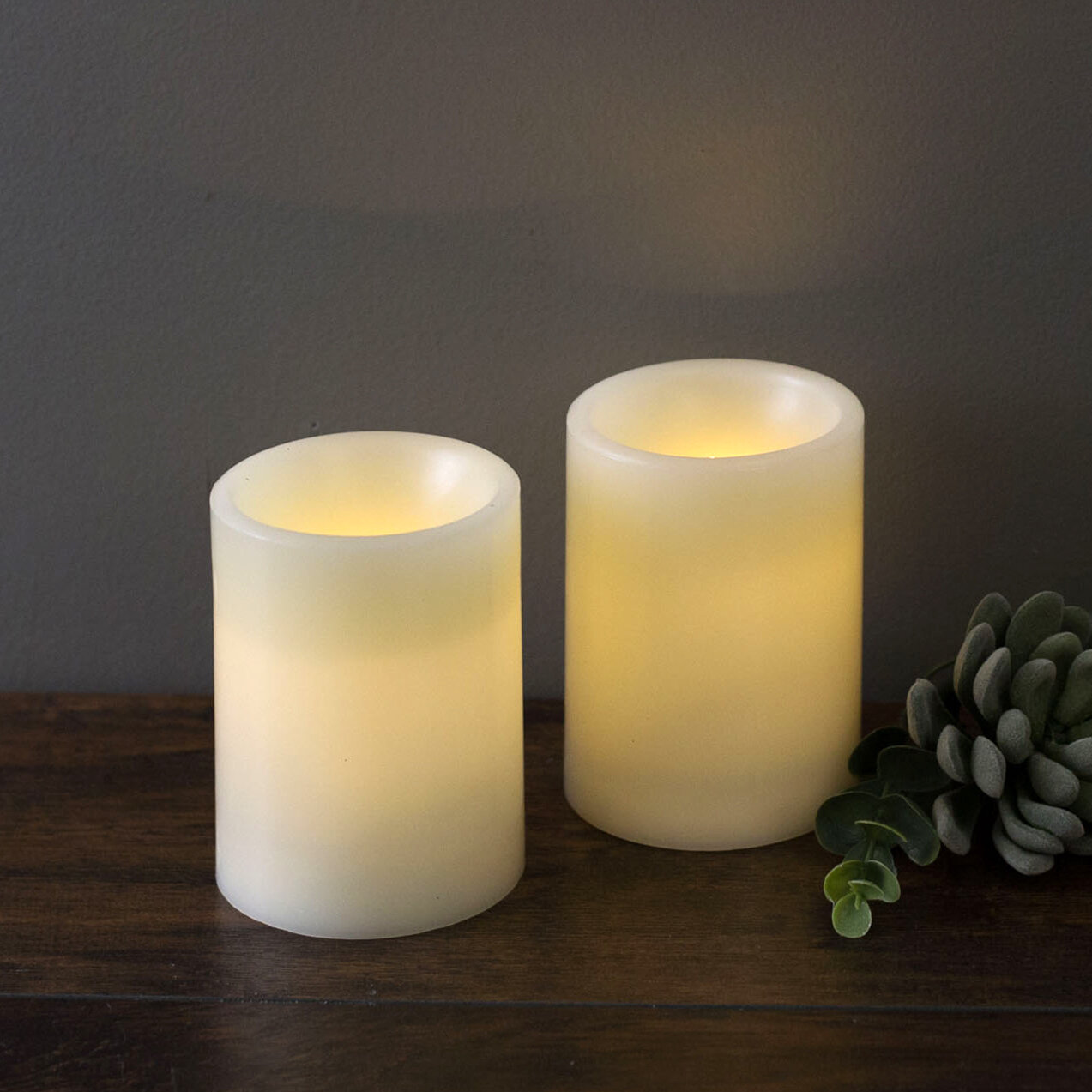 Martha Stewart 2 Piece Led Unscented Pillar Candle Set Reviews Wayfair