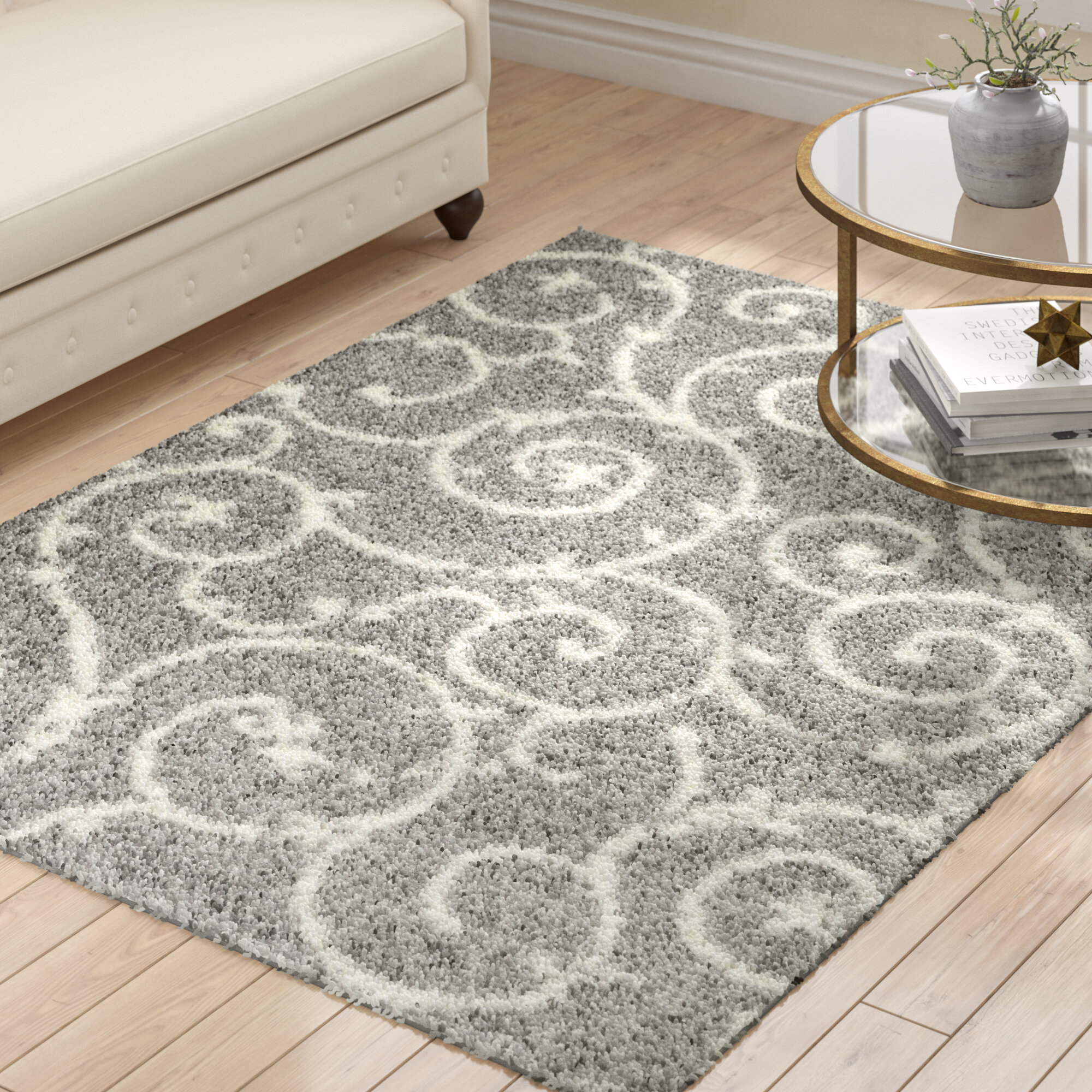 Andover Mills Birdsall Floral Light Gray Area Rug Reviews Wayfair
