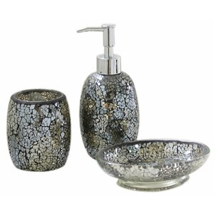sparkle mosaic 3 piece bathroom accessory set