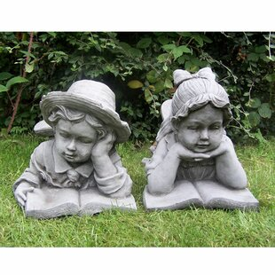 Hardcastle Large Stone Effect Boy And Girl Laying And Reading Garden Ornaments By Sol 72 Outdoor