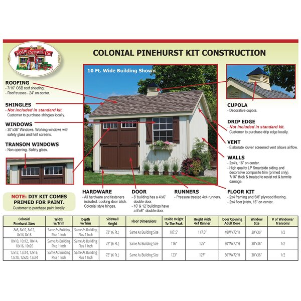 Colonial Pinehurst 8 ft. W x 10 ft. D Solid and Manufactured Wood Storage Shed