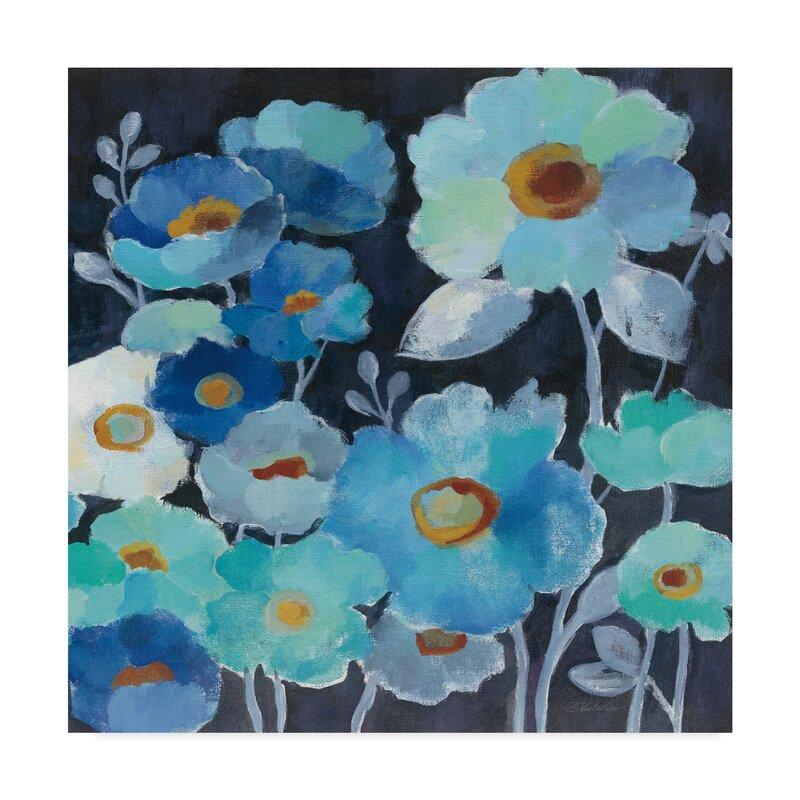 Winston Porter Indigo Flowers Iii Acrylic Painting Print On Wrapped Canvas Wayfair