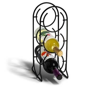 Williston Forge Lobardy 4 Bottle Solid Wood Floor Wine Bottle Glass Rack In Black Wayfair