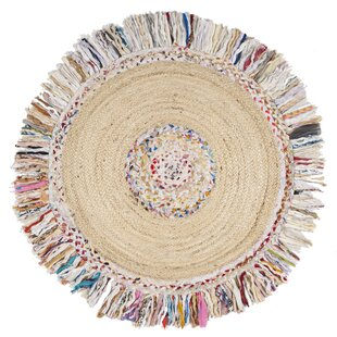 Abhay Hand Woven Round Ivory Area Rug
