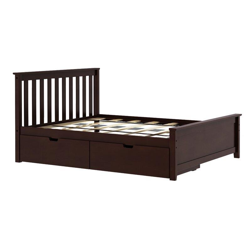 Solid Wood Full Platform Bed With Under Storage Drawer