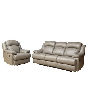 Darby Home Co Cuyler Reclining 2 Piece Leather Living Room Set