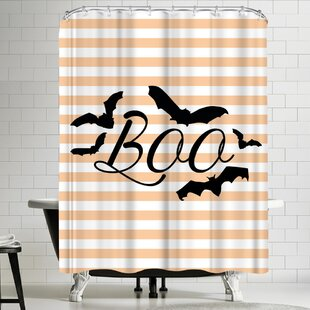 Jetty Printables Boo with Bats Single Shower Curtain