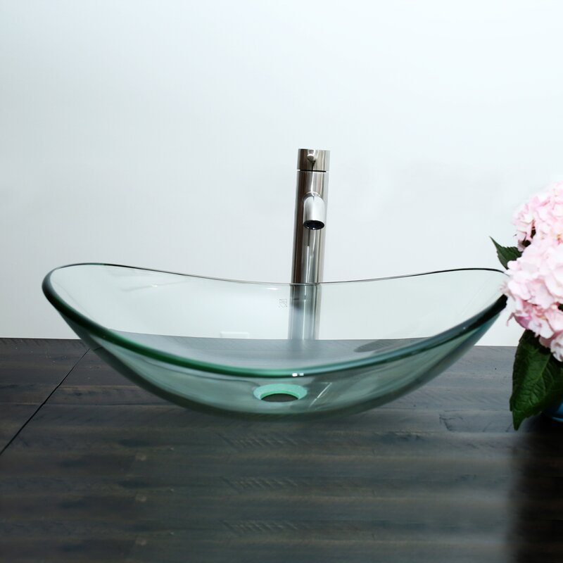 Glass Oval Vessel Bathroom Sink With Faucet Reviews Allmodern