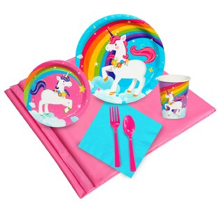 57 Piece Fairytale Unicorn Plastic Disposable Party Supplies Set