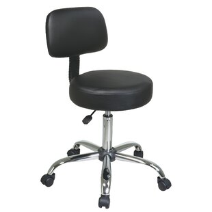 Hathcock Vinyl Seat and Back Chrome Finish Drafting Chair