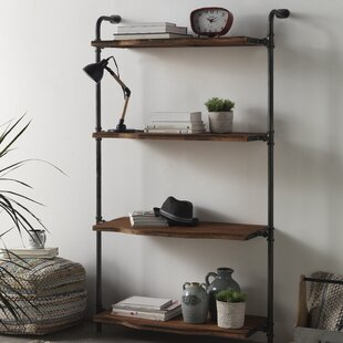 Wooden And Metal Bookcase By Williston Forge