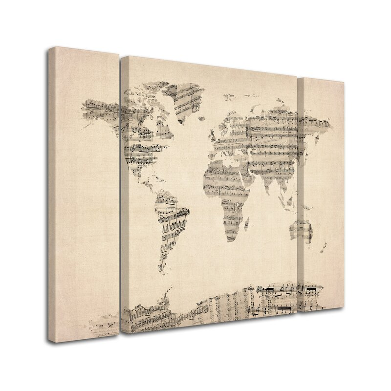 Trademark art old sheet music world map by michael tompsett 3 old sheet music world map by michael tompsett 3 piece graphic art on wrapped gumiabroncs Choice Image
