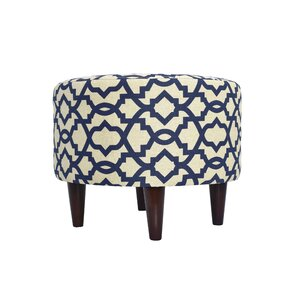 Devaney Round Upholstered Ottoman by Three Posts