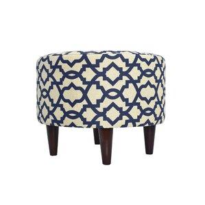 Devaney Round Upholstered Ottoman by Three Posts