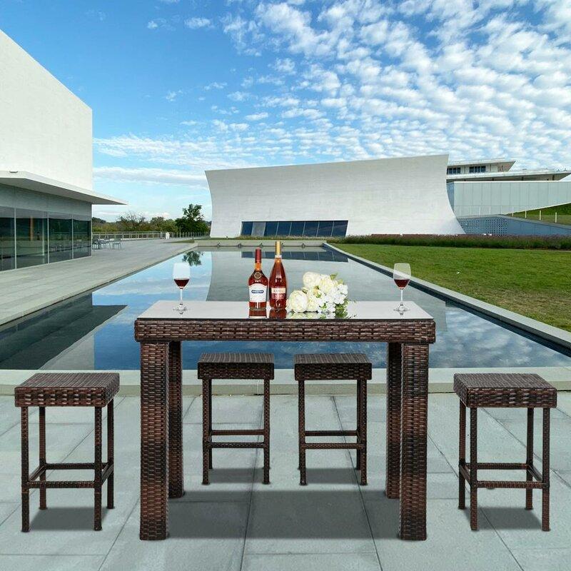 Ebern Designs Weweantic 5 Piece Bar Height Dining Set