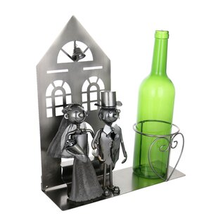 Bride and Groom Metal Holder Marriage At Church Kitchen 1 Bottle Tabletop Wine Rack
