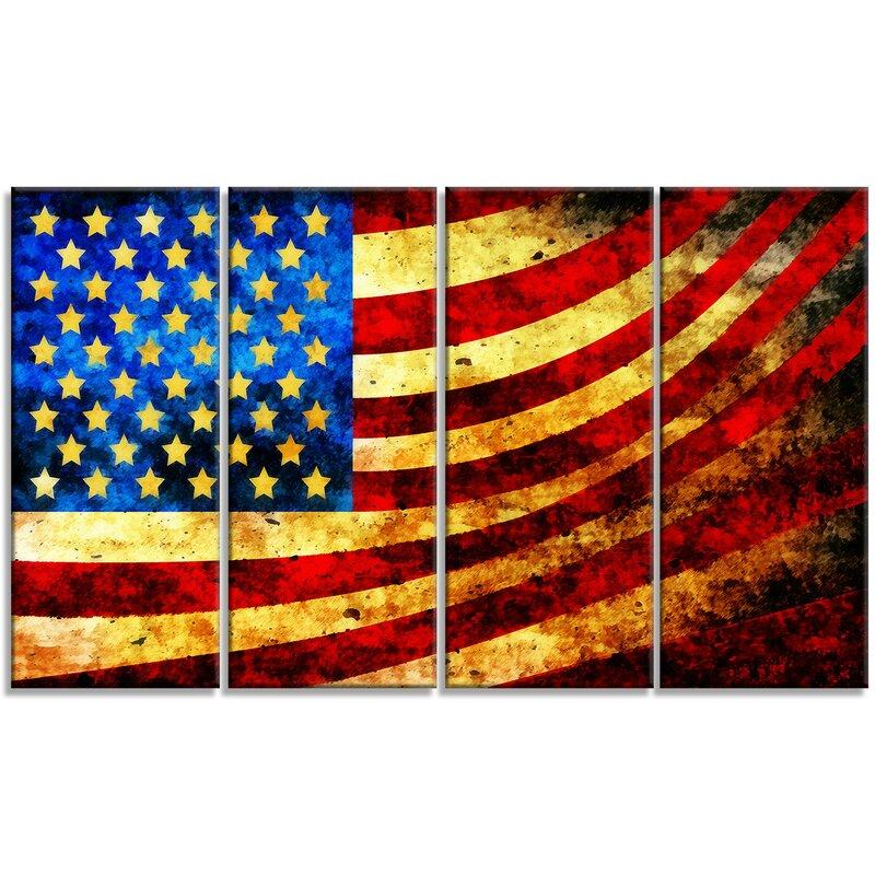 Patriotic Wall Decor - Metal 'God Bless America Flag' 4 Piece Graphic Art Set