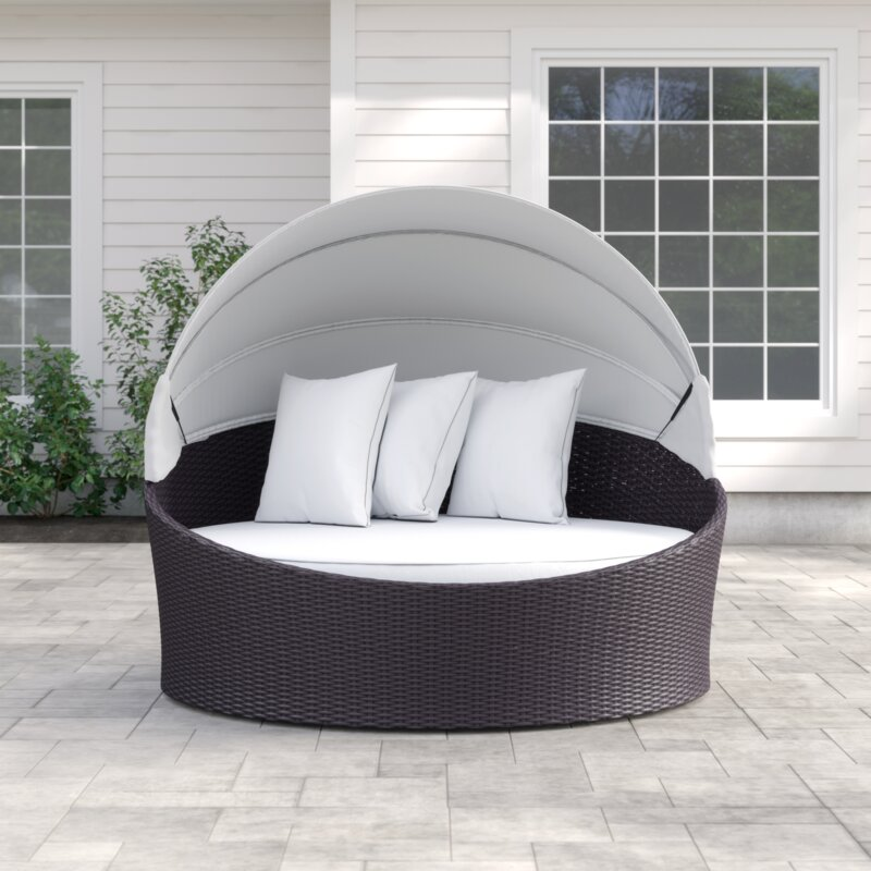 Outdoor Bwood Canopy Patio Daybed