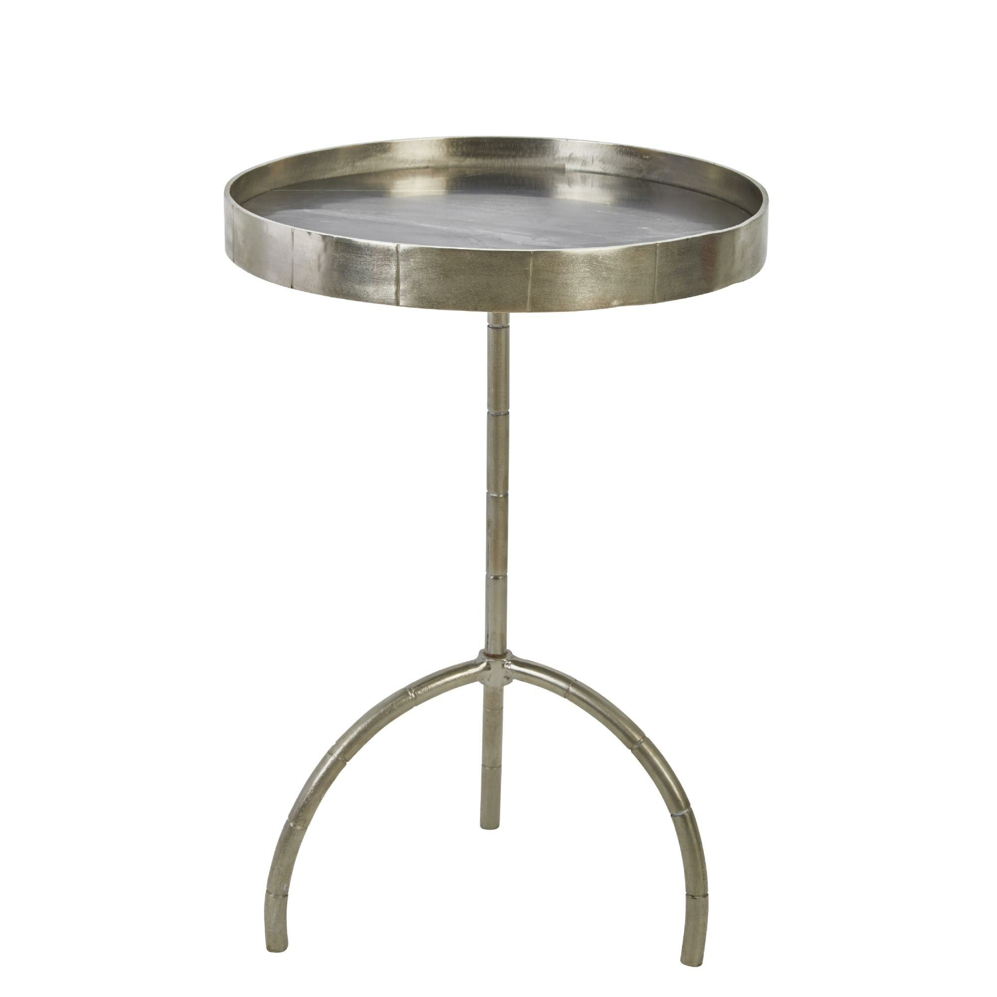 Benjara Metal Accent Table With Tripod Base And Round Marble Top Silver Wayfair