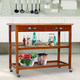 Weidner 3-Tier Kitchen Cart Solid Wood Red Barrel Studio