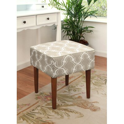 123 Creations Trellis Linen Upholstered Modern Vanity Stool Color Taupe