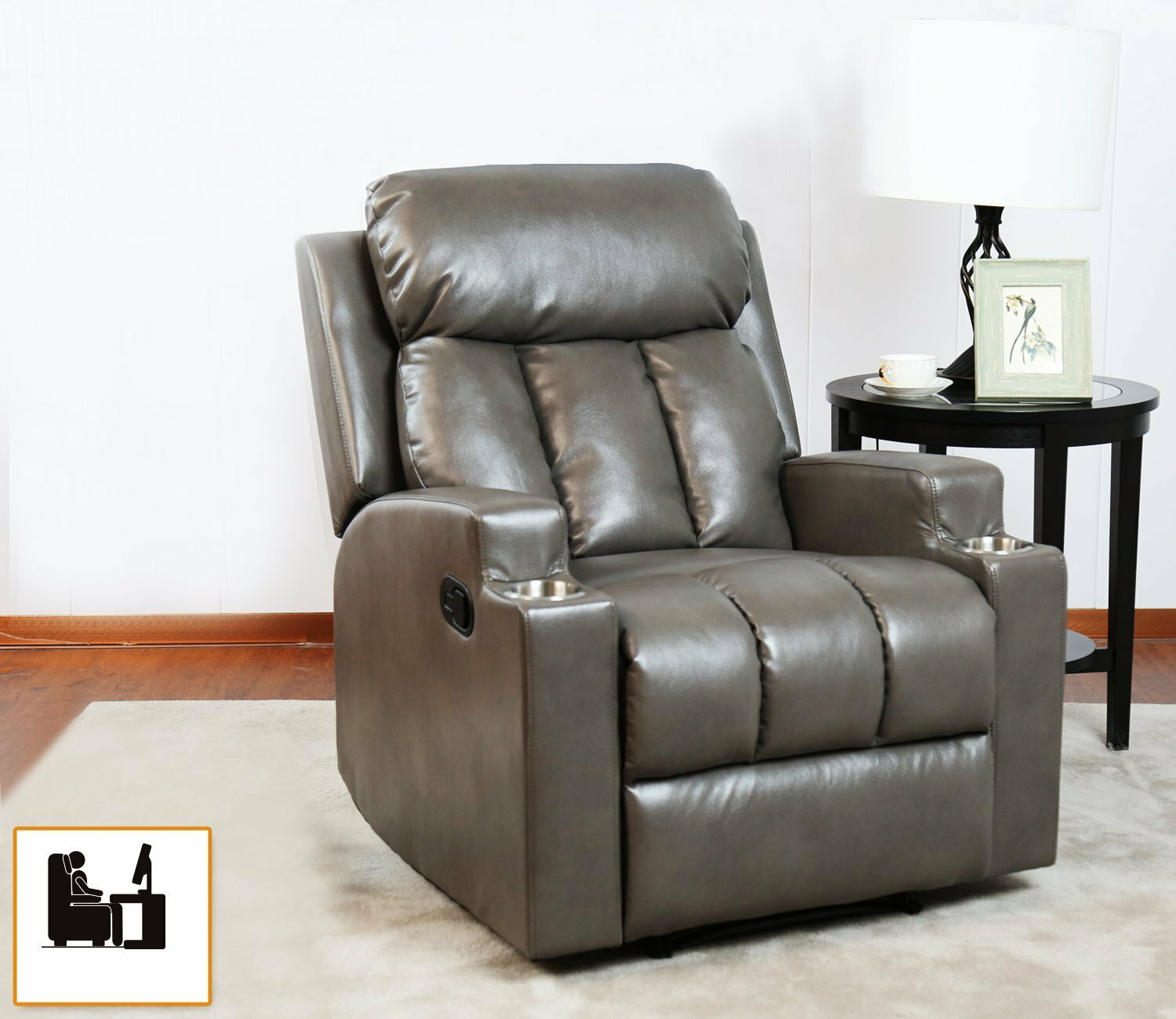 Winston porter bonzy recliner chair contemporary theatre seating 2 cup holder grey leather chair for modern living room durable framework reviews