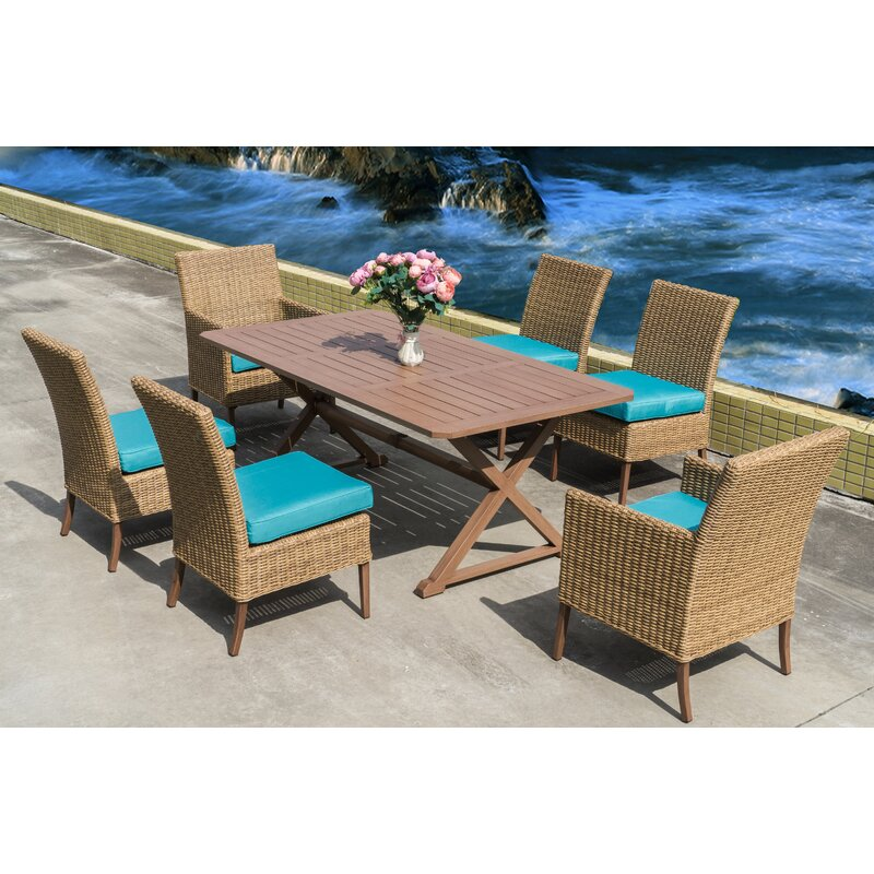 Bellini Kimpton 7 Piece Teak Dining Set With Cushions Wayfair