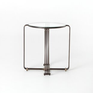 Stepanie End Table with Glass Top by 17 S..