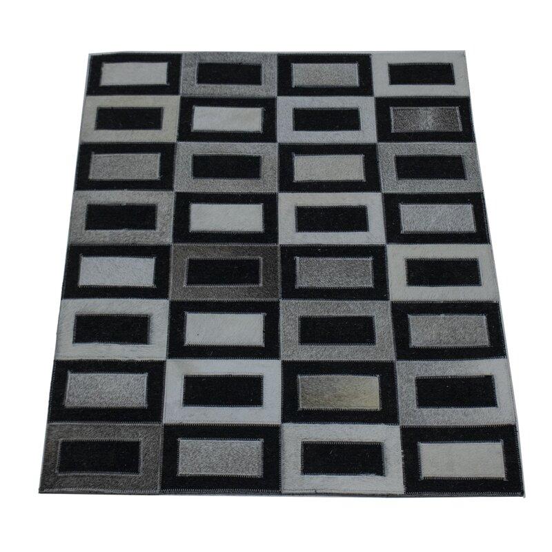 George Oliver Mazeppa Geometric Hand Tufted Wool Black Area Rug Wayfair
