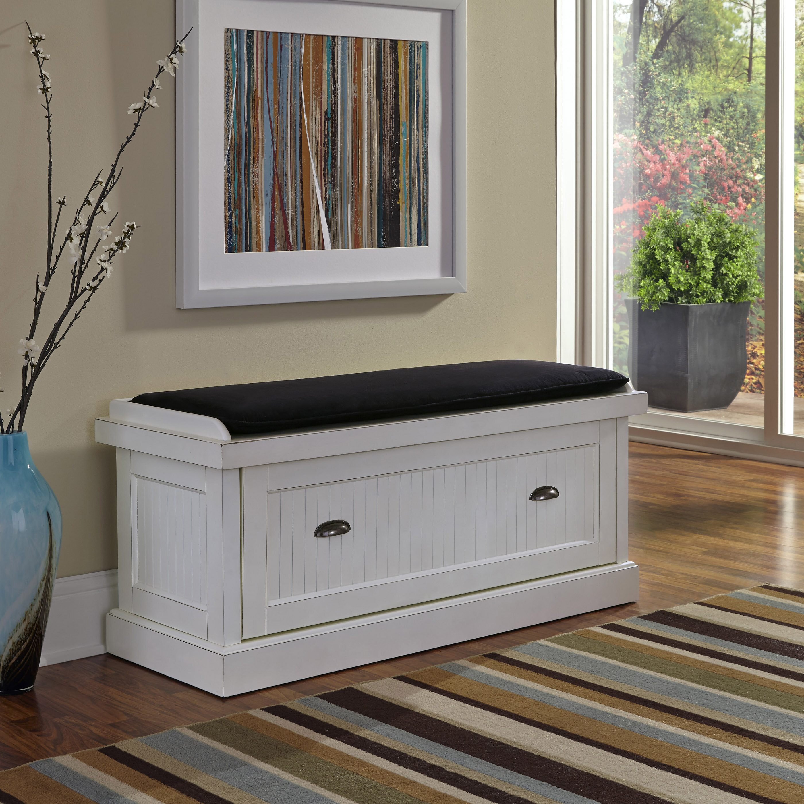 pin an cozy to modern entry style bench add pillows wood mirror entryway a throws elements midcentury with warmth round and oversize of
